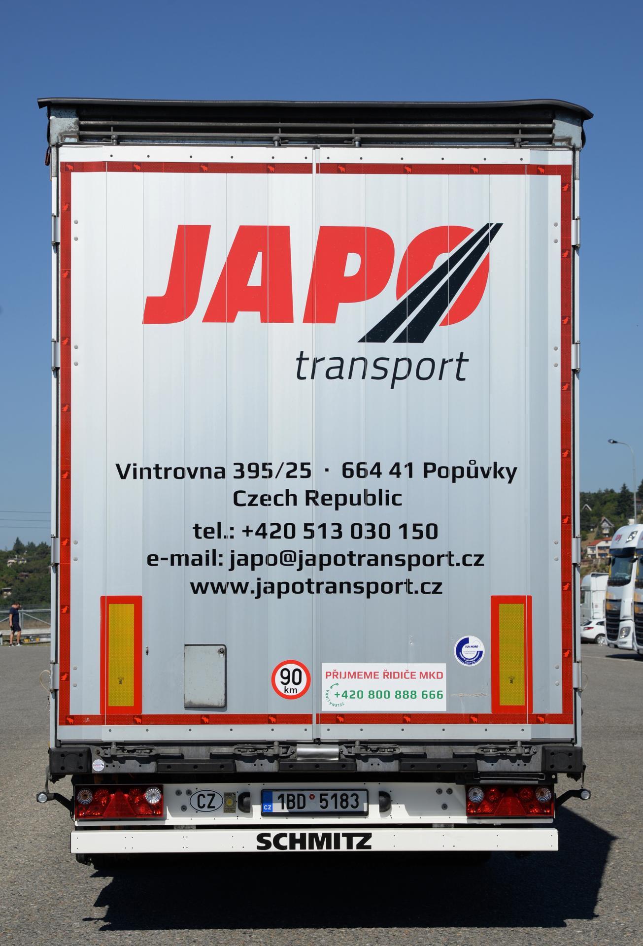 Návěs společnosti JAPO Transport